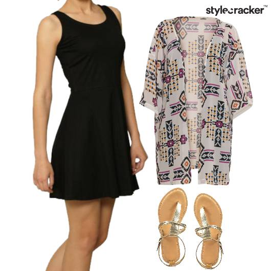 Skater Dress Layer Cardigan Flats  - StyleCracker
