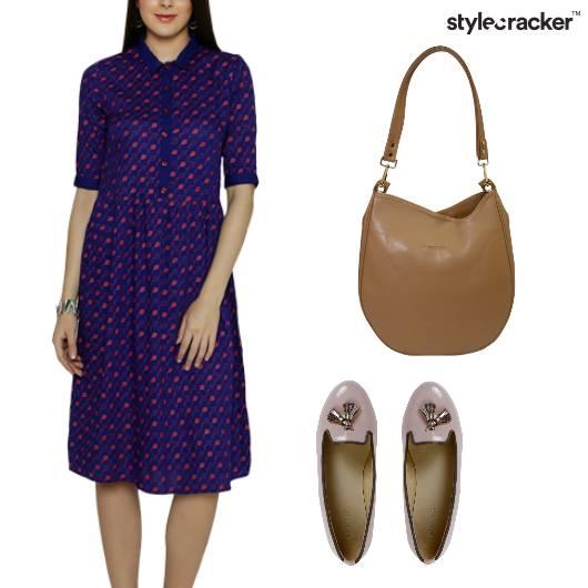 Polkadot Midi Dress Casual Lunch - StyleCracker