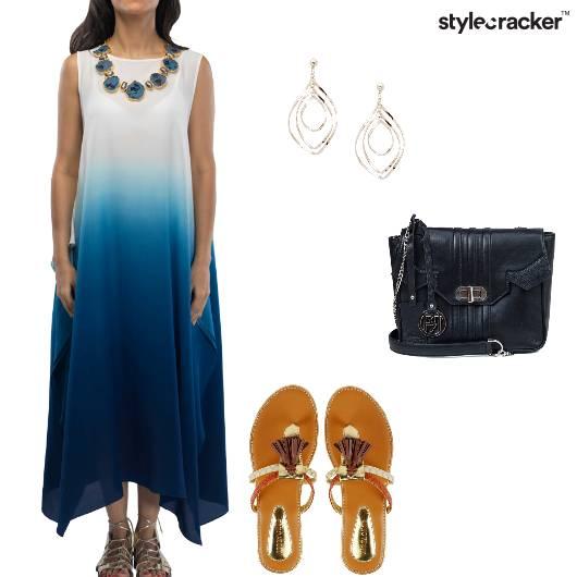 Dress Asymmetric IndoWestern Flats Slingbag  - StyleCracker