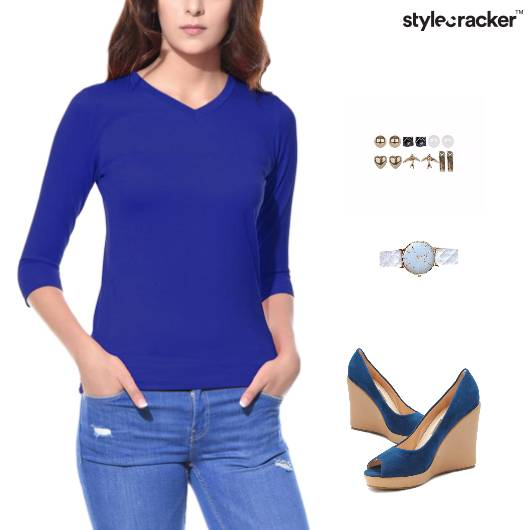 Casual Top Denims Wedges Footwear - StyleCracker