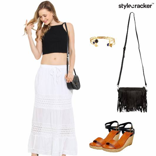 Maxi Skirt Crop Fringebag Wedges  - StyleCracker