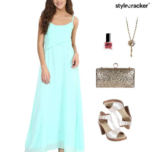 Maxi Dress HiShine Clutch Accessories  - StyleCracker
