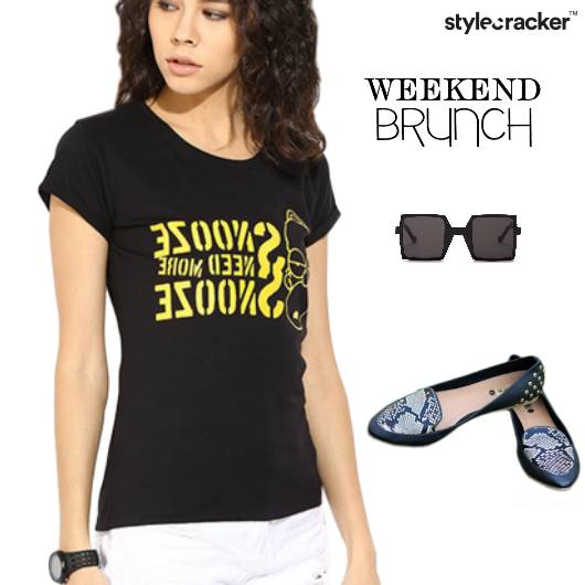 Casual TShirt BalletFlats Lunch Weekend - StyleCracker
