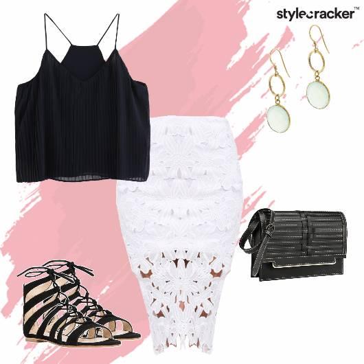 Croptop Skirt Lace LaceUps Earrings Party - StyleCracker