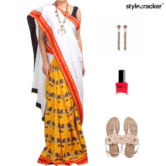 Indian Festive Ethnic Printed Saree - StyleCracker