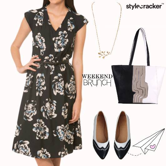 Dress Floral Printed Flats Handbag Brunch - StyleCracker