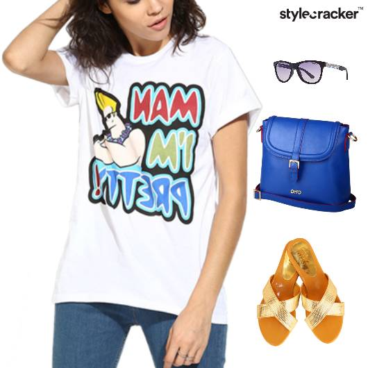 Casual TShirt Slingbag Flats Lunch - StyleCracker