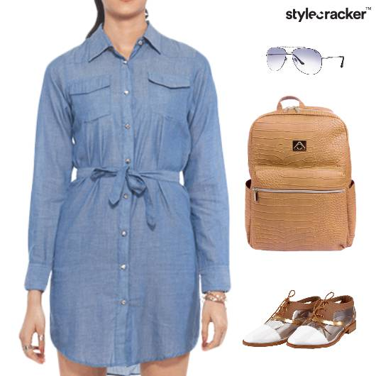 Shirt Dress Backpack Aviator Sunglasses  - StyleCracker