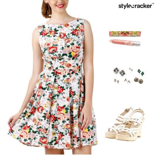 Printed Dress Wedges Footwear Dinner - StyleCracker