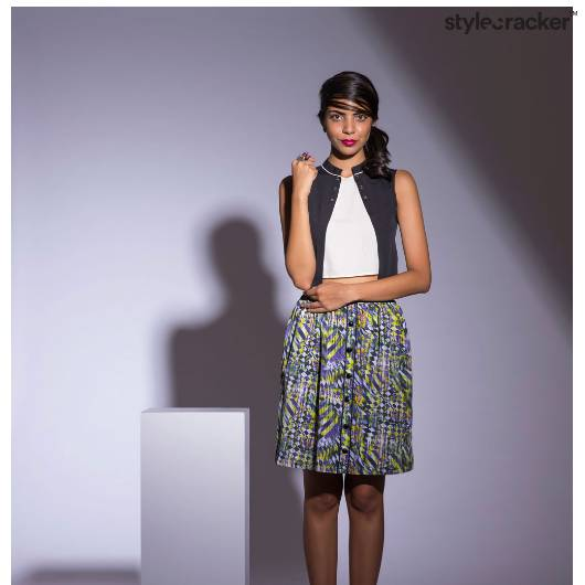 CropTop Print Skirt Edgy  - StyleCracker