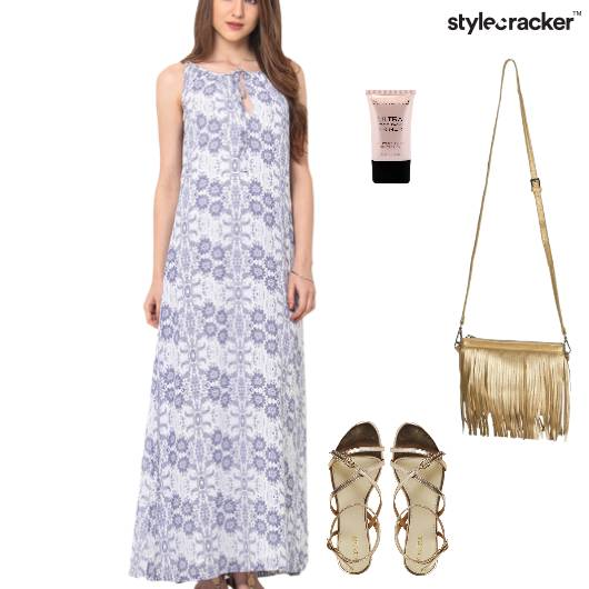 Printed Maxi Dress Flats Fringe Bag - StyleCracker