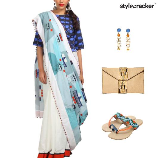 Printed Saree Clutch Flats Indian - StyleCracker