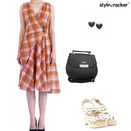 Dress Checked Wedges Slingbag Studs - StyleCracker
