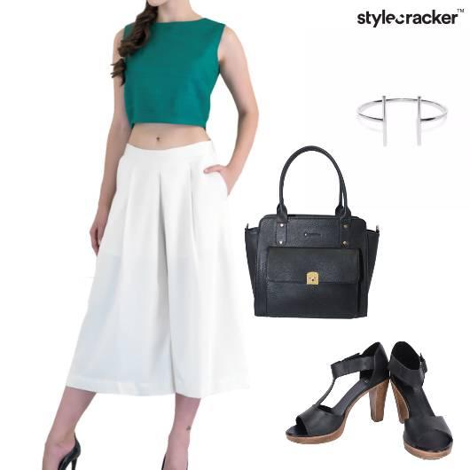 Top Culottes Handbag Bracelet Work - StyleCracker