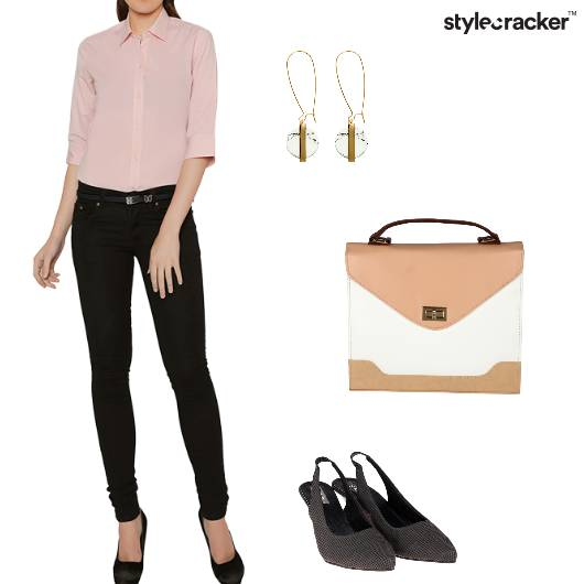 Blouse FlaredPants SlingBacks Work - StyleCracker
