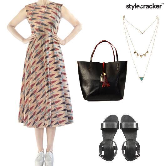 Dress Midi Flat Handbag LayeredNecklace - StyleCracker