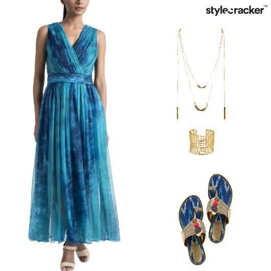 Tie&DyeLayeredNecklaceHandCuffIndianPrint Kolhapuri - StyleCracker