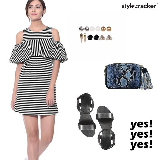 Stripes Coldshoulder Flats Prints  - StyleCracker