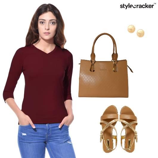 Tshirt Maxiskirt Flats ToteBag Casual - StyleCracker