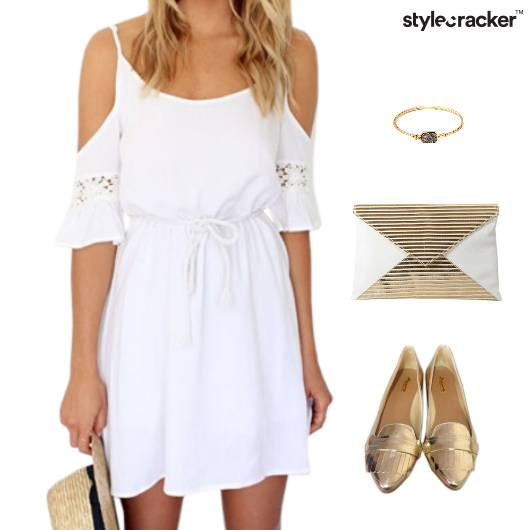 ColdShoulder Dress BalletFlats Clutch Dinner - StyleCracker