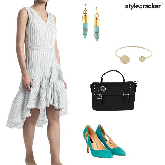 Dress Striped Satchel Pumps Earrings Casual - StyleCracker