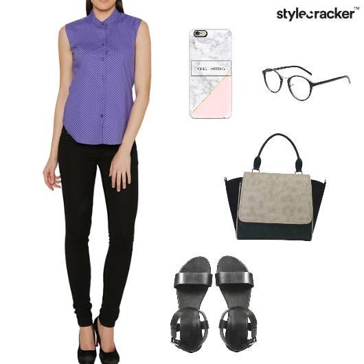 Shirt FlaredPants  Handbag Flats Work - StyleCracker