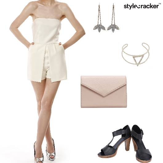 Playsuit EnvelopeClutch Heels Dropearrings Party - StyleCracker