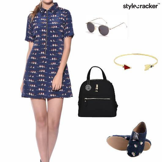 Dress Printed Backpack Oxfords Sunglasses Casual - StyleCracker