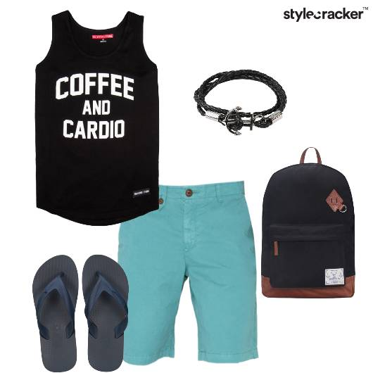 Vest Graphic Shorts Flipflops Backpack Casual - StyleCracker
