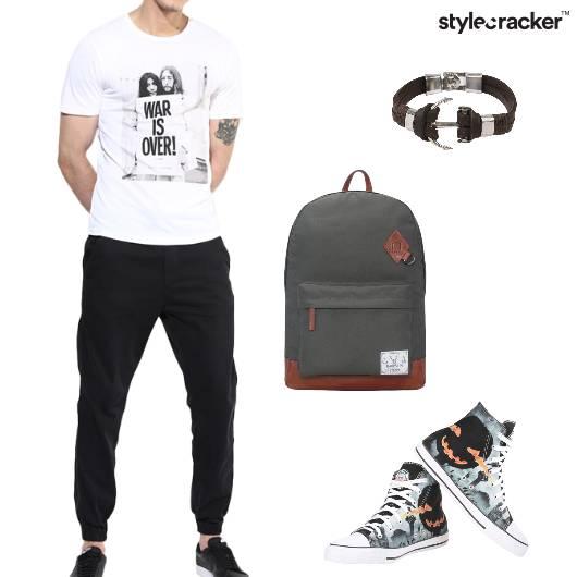 Tshirt Shorts Hightops Backpack Casual - StyleCracker