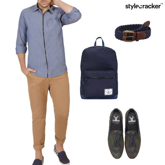 Shirt Chinos Loafers Backpack Casual - StyleCracker