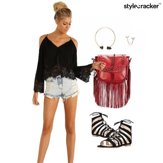 Bohochic Cuff  Fringes Lace  Strappyflats - StyleCracker