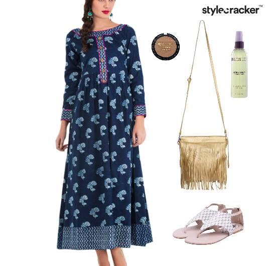 Maxi Dress Fringe Bag Flats  - StyleCracker