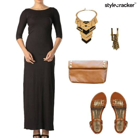 MidiDress Tan Dinner Edgy - StyleCracker