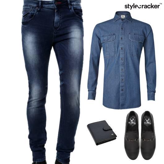 Denim Shirt Bottoms Slipon Casuals - StyleCracker