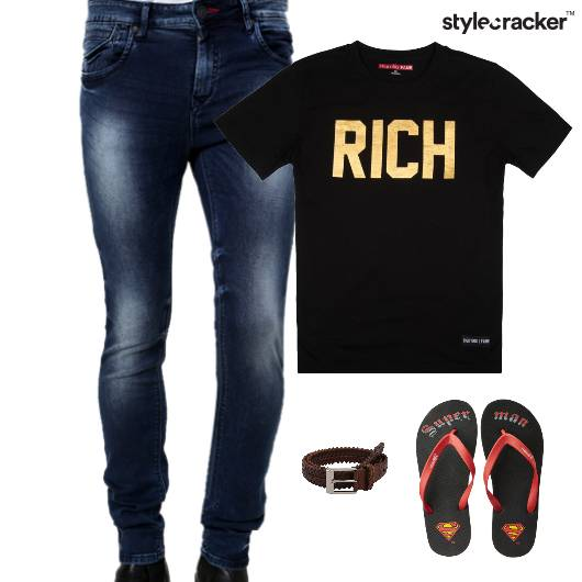 Casual TShirt Flipflops Belt Dinner - StyleCracker
