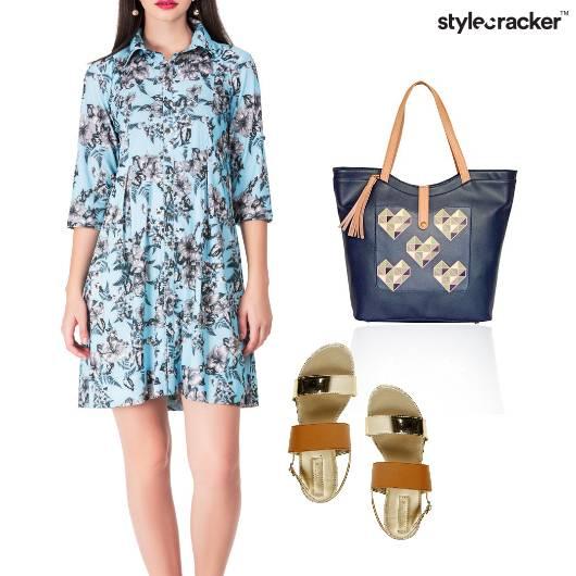 Printed Collar Dress Causal Work - StyleCracker