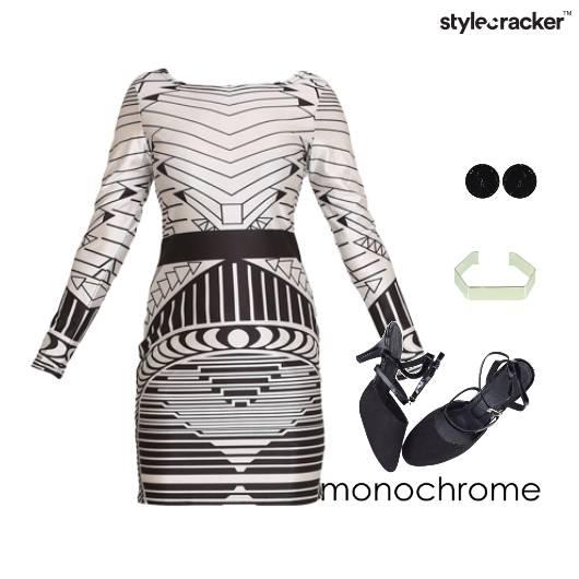 Bodycon Marbledearrings Geometry Monochromatic  - StyleCracker
