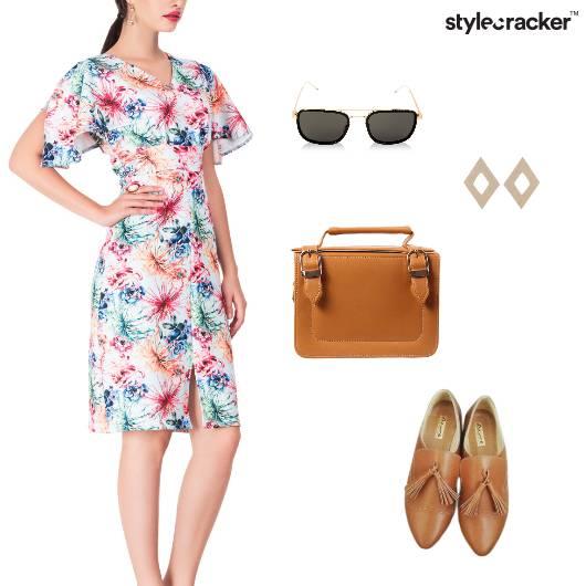 Print Midi Dress Lunch Casual - StyleCracker