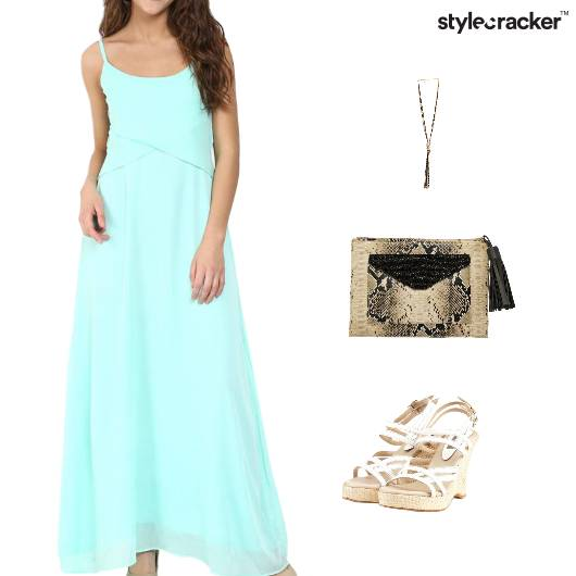 Maxi Dress Clutch Wedge Footwear  - StyleCracker