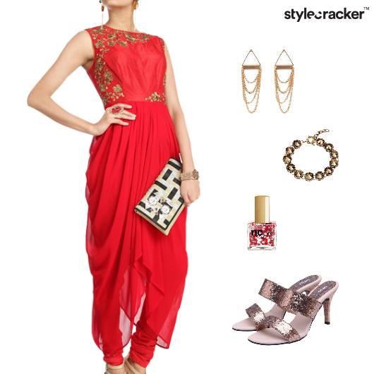 Indian Drapes IndoFusion HiShine Party - StyleCracker