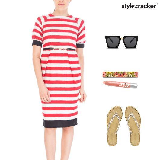 Stripes Dress FlipFlop Footwear Casual  - StyleCracker