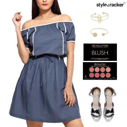 Offshoulder Dress Metallic Footwear Lunch  - StyleCracker