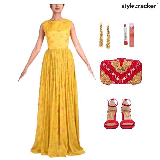 functionspartiesgownyellowAndgoldensandals - StyleCracker