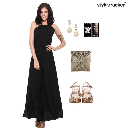 CocktailLookblackwithglittermakeupearringglamarous - StyleCracker