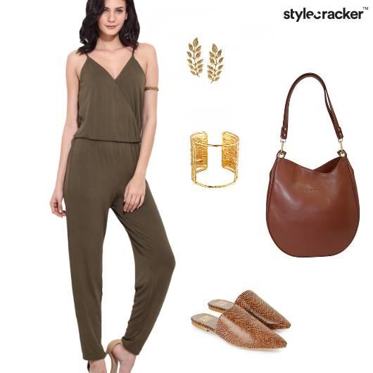 Jumpsuit Olive Casual Tan  - StyleCracker