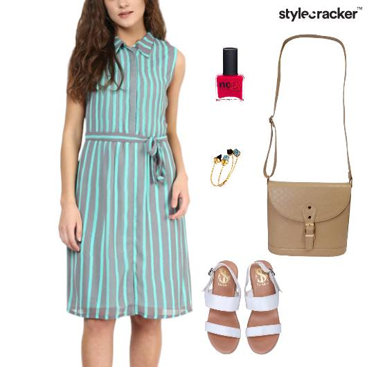 Stripes Dress SlingBag Flats Casual - StyleCracker