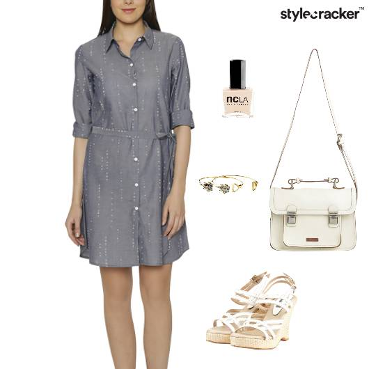 Shirt Dress Wedges SlingBag Lunch - StyleCracker