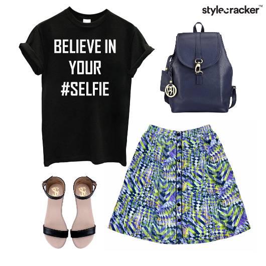 Casual TShirt Printed Skirt Flats - StyleCracker