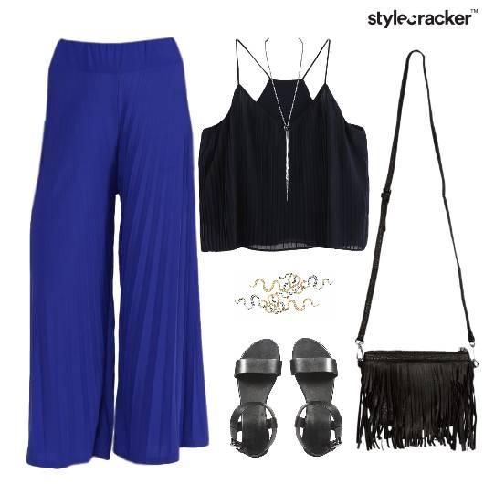 Pleated Pants SlingBag Flats Weekend - StyleCracker